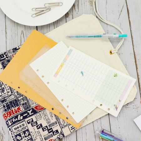 【全面客製化 專屬於你的手帳本】六孔活頁紙 拉鏈袋 收據袋 記事本 記帳本 空白筆記本 橫線筆記本【A0717】
