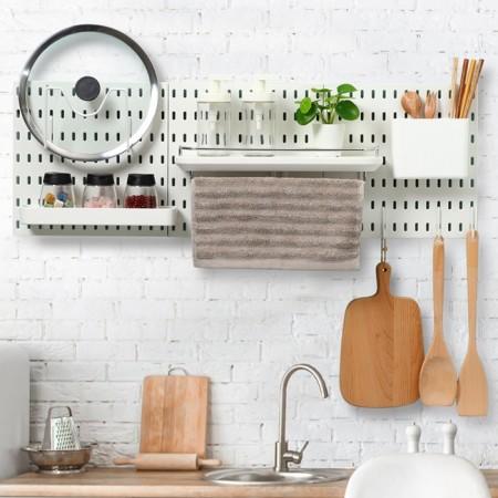【美安獨家組合】 北歐風洞洞板♡廚房收納系列 免釘免打孔 洞洞板 收納架 收納壁板壁板 IKEA【G5207】