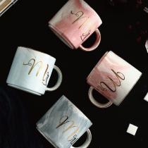 【交換禮物】歐式大理石紋咖啡情侶對杯  大理石馬克杯