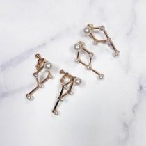 氣質珍珠幾何耳環♡耳針耳夾可選 【FA48】