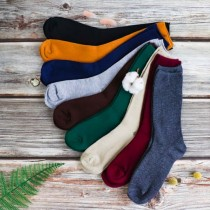 素色純棉堆堆襪  ♡  二色可選  日系 中筒春秋百搭復古文青 韓風小清新學生女襪子