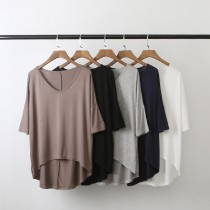 【日系雜誌款】百搭莫代爾寬鬆V領T恤  ♡  五色可選【E0125】