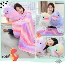 【恐龍抱枕毯】 舒適兔毛絨 恐龍被子 恐龍娃娃 抱枕毯子 空調毯 午睡毯 冷氣毯 懶人毯 漸層