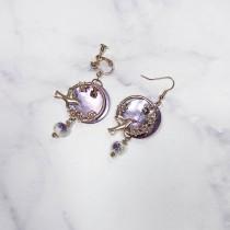 紫色貝殼造型耳環♡ 耳針耳夾可選 【FA57】