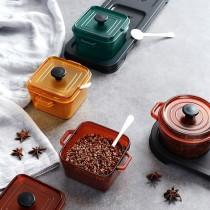 【美麗新廚房】鑄鐵鍋造型調味盒 琺瑯鍋造型調味盒 調味罐  調味盒  調味料盒 三格調味盒 收納盒【G3316】