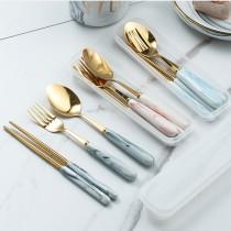 (交換禮物)大理石紋餐具組❤️三色可選  環保餐具  不銹鋼餐具【G2004】