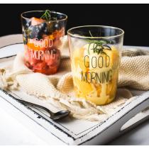 早安文字透明水杯