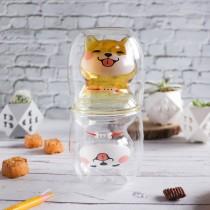 【交換禮物】柴犬雙層玻璃杯❤️ 兩色可選 造型雙層玻璃杯 耐熱玻璃杯 隔熱玻璃杯