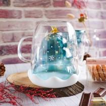 【聖誕必備!附贈杯蓋】聖誕樹雙層玻璃杯 雙層造型玻璃杯 耐熱玻璃杯 隔熱玻璃杯 交換禮物 雙層杯 水晶杯