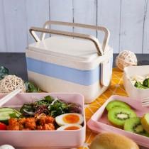 【可微波】環保小麥三層日式便當盒 三色可選  環保餐具 便當盒 全新生活